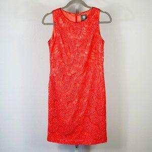 VINCE CAMUTO sheath dress lace coral Sz 6